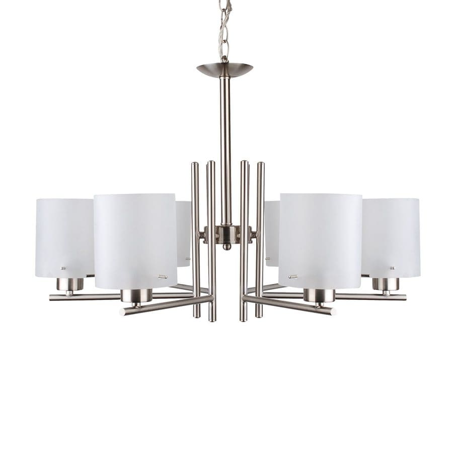 Whitfield Lighting Dexter 28-in 6-Light Satin Steel Shaded Chandelier