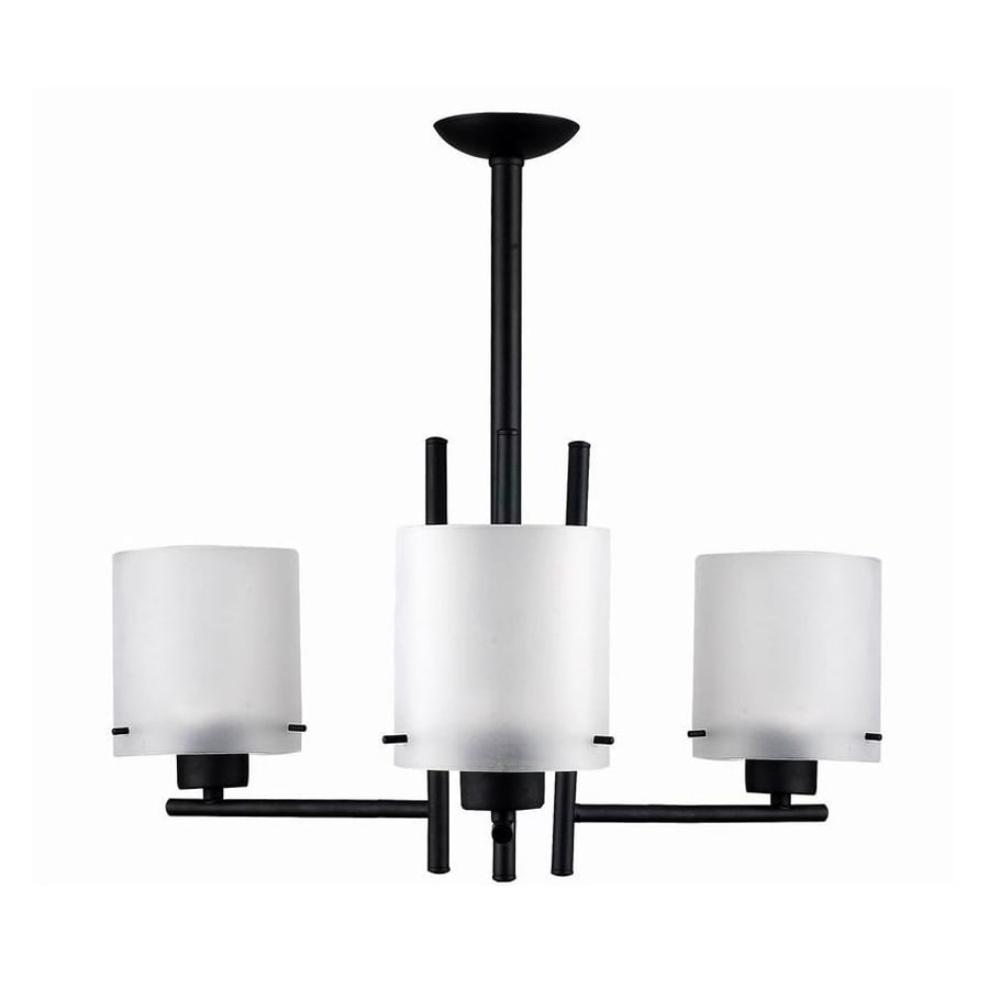 Whitfield Lighting Dexter 22-in 3-Light Black Shaded Chandelier