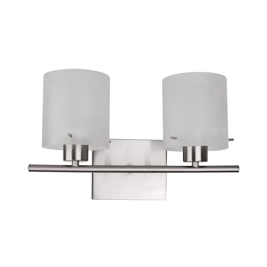 Whitfield Lighting Dexter 2-Light 9.75-in Satin Steel Cylinder Vanity Light