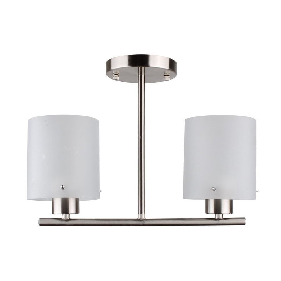 Whitfield Lighting Dexter 5-in W Satin Steel Frosted Glass Semi-Flush Mount Light