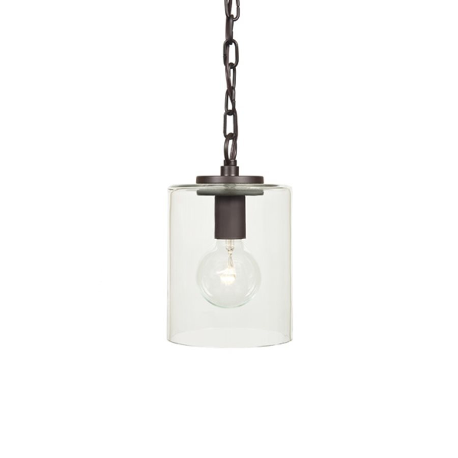 JVI Designs Jupiter 6-in Oil-Rubbed Bronze Industrial Mini Clear Glass Cylinder Pendant