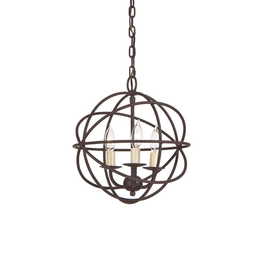 JVI Designs 12-in 3-Light Rust Wrought Iron Globe Chandelier