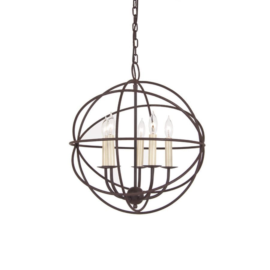 JVI Designs 18-in 5-Light Rust Wrought Iron Globe Chandelier