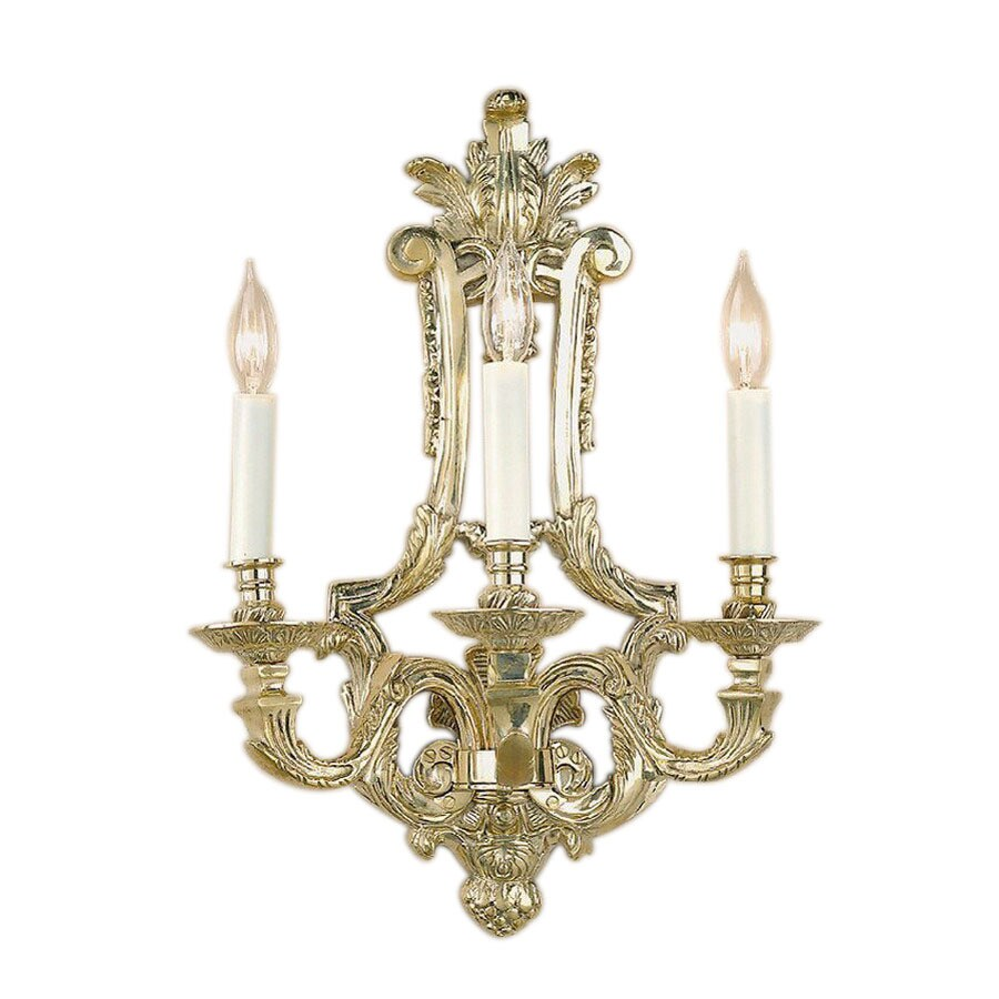 JVI Designs 15.75-in W 3-Light Antique Brass Arm Wall Sconce