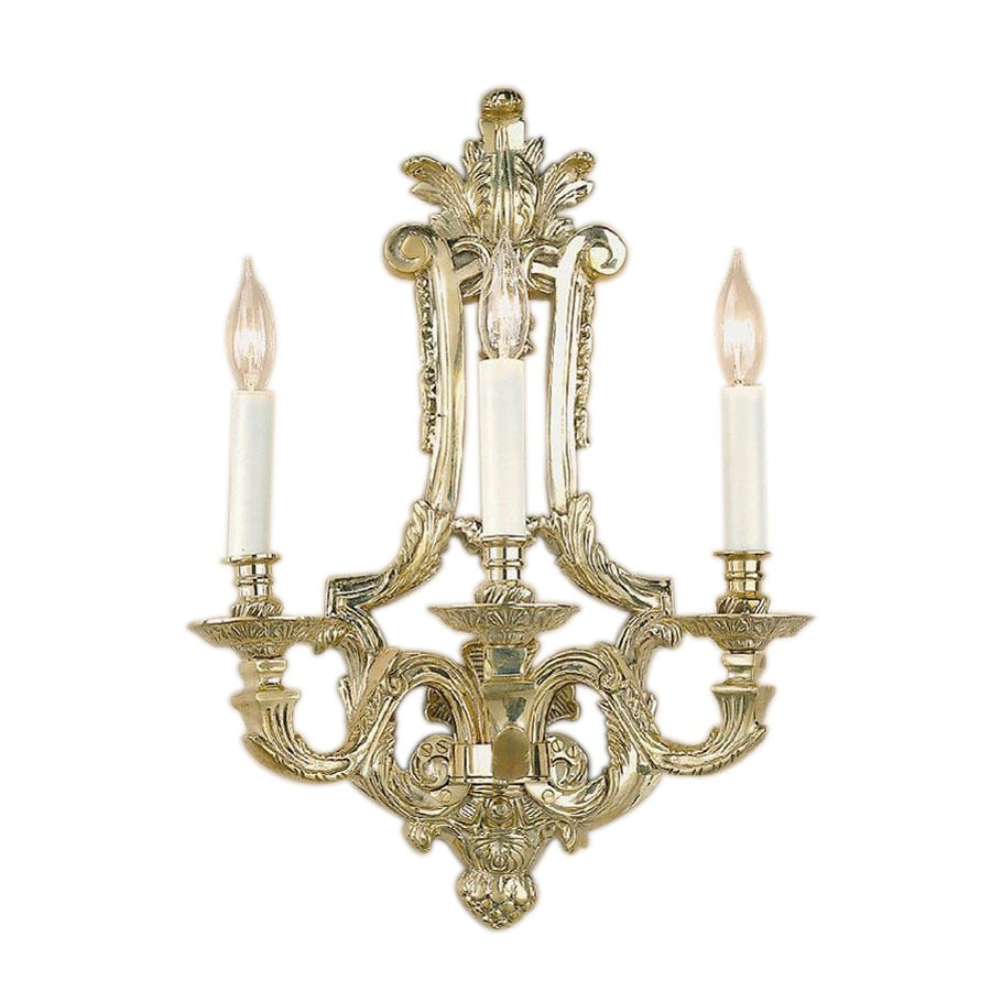 JVI Designs 15.75-in W 3-Light Antique Brass Arm Hardwired Wall Sconce
