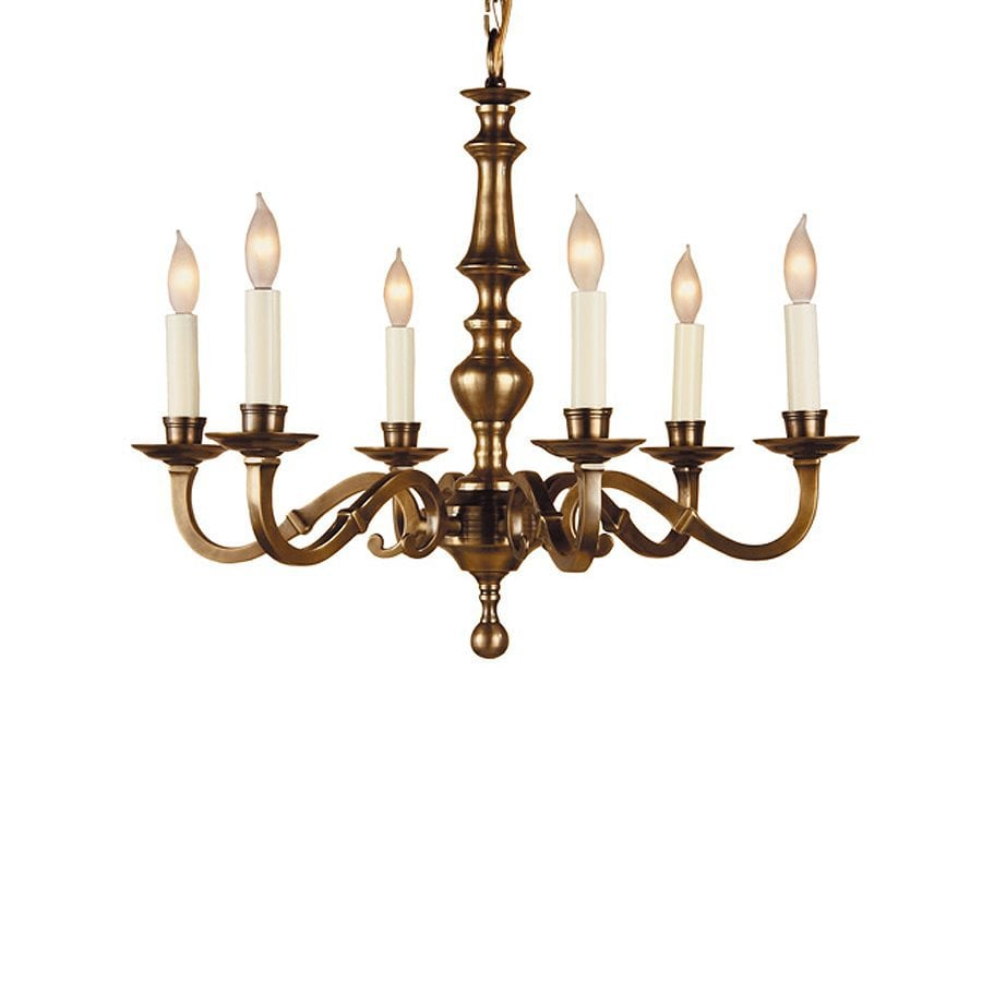 JVI Designs 23-in 6-Light Weathered Bronze Williamsburg Candle Chandelier