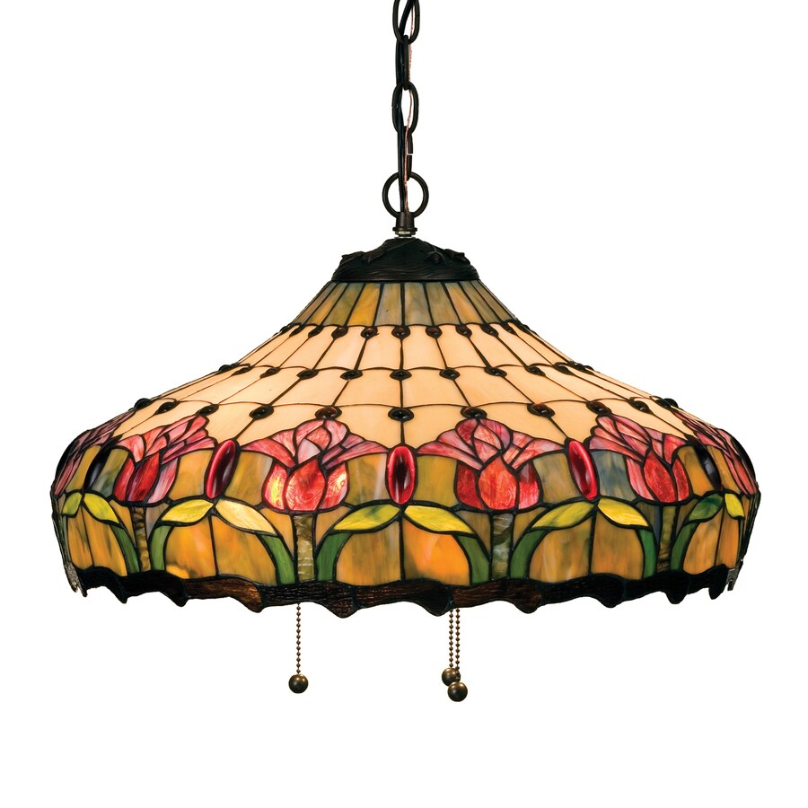Meyda Tiffany Colonial Tulip 20-in Mahogany Bronze Tiffany-Style Hardwired Single Stained Glass Teardrop Pendant