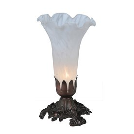 Meyda Tiffany Pond Lily 8 In Mahogany Bronze Electrical Outlet Uplight Table  Lamp With Glass