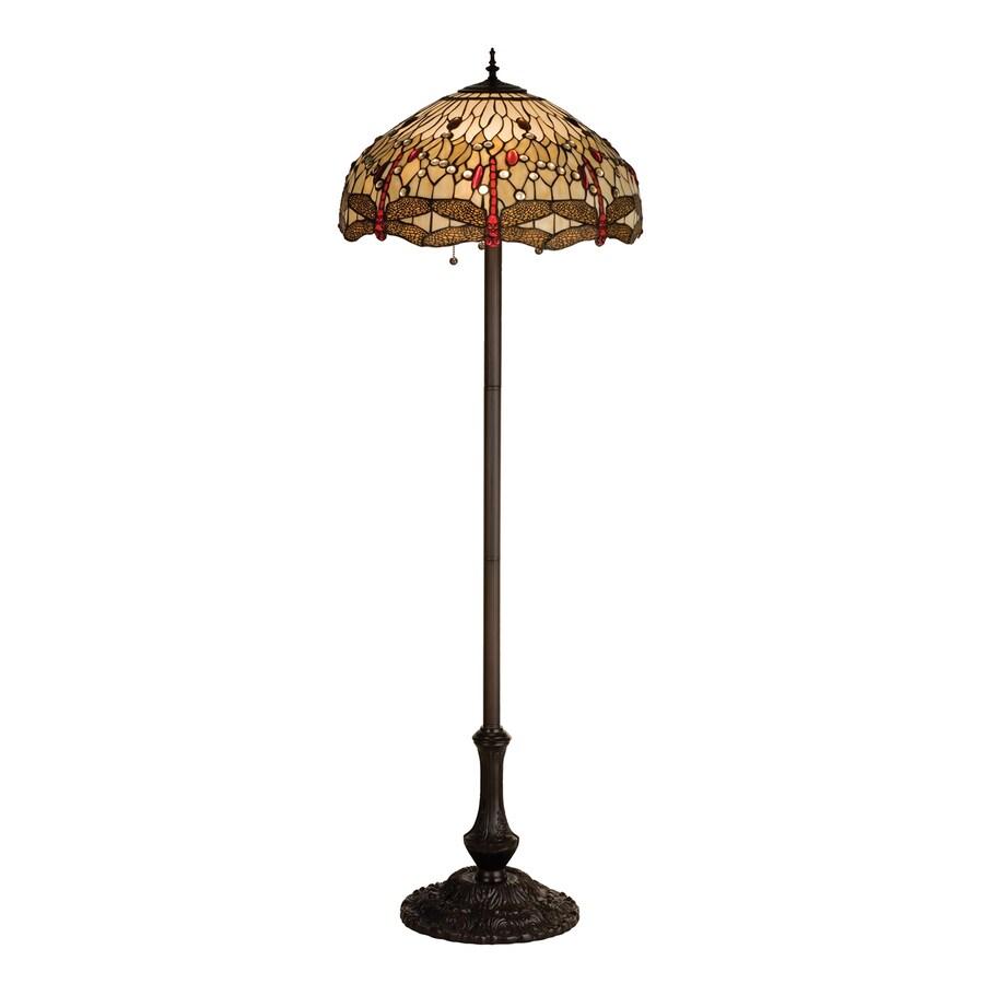 Meyda Tiffany Scarlet Dragonfly 63-in Mahogany Bronze Tiffany-Style Indoor Floor Lamp with Glass Shade