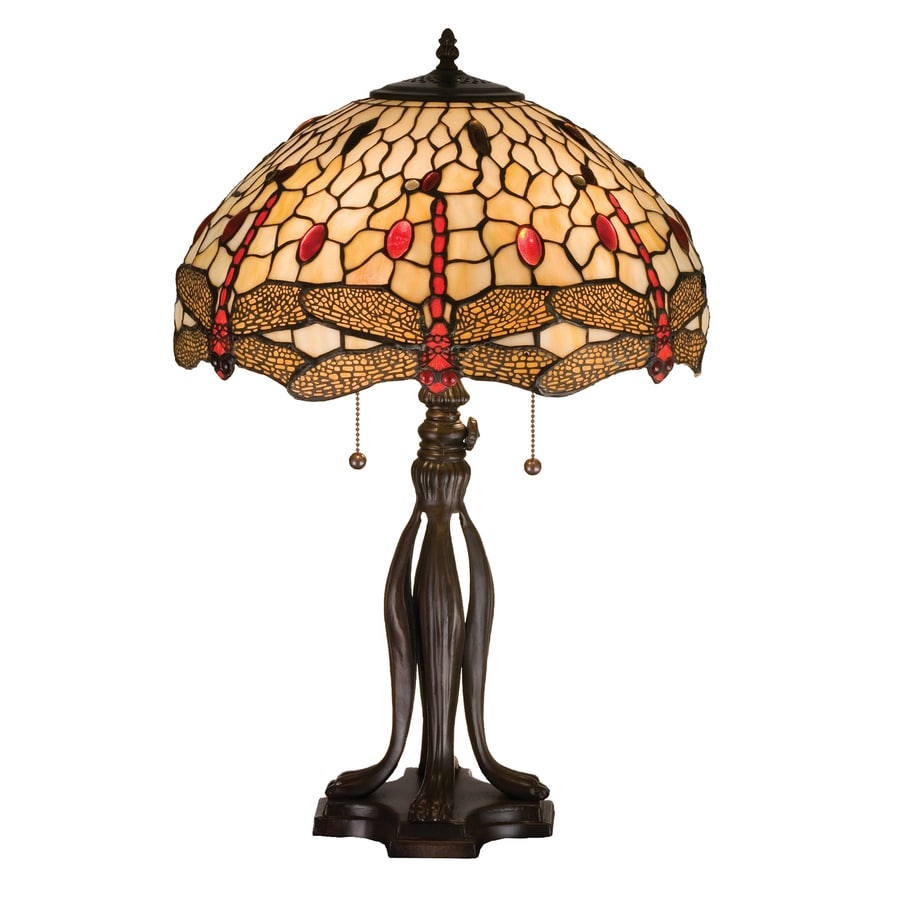 Meyda Tiffany Dragonfly 25.5-in Mahogany Bronze Indoor Table Lamp with Tiffany-Style Shade