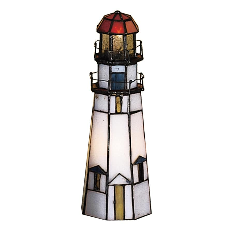 meyda tiffany lighthouse 9in indoor table lamp with glass shade - Meyda Tiffany
