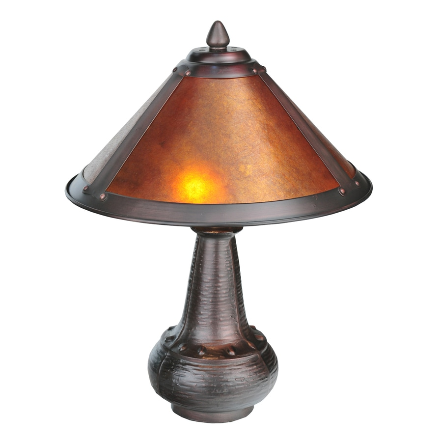 Meyda Tiffany Dick Van Erp 14 In Mahogany Bronze Electrical Outlet Table  Lamp With Mica