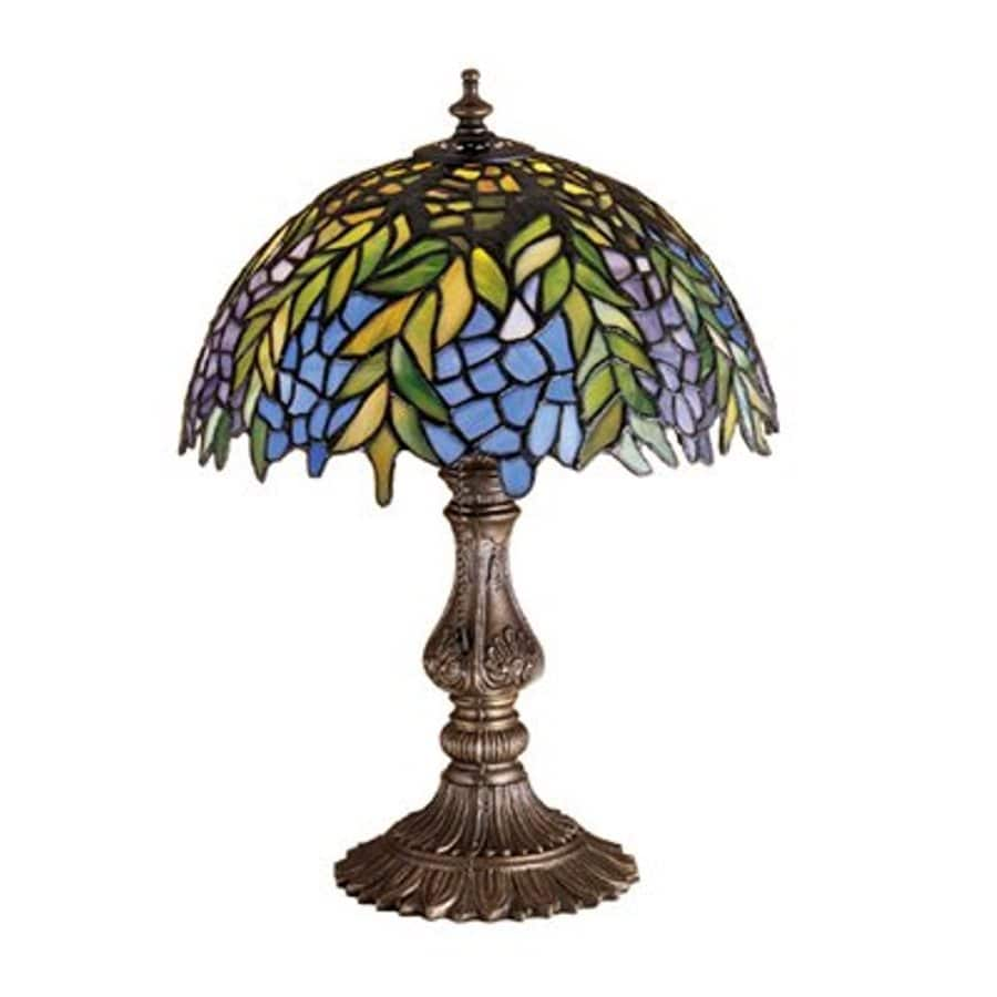 Meyda Tiffany Honey Locust 17.5-in Mahogany Bronze Indoor Table Lamp with Tiffany-Style Shade