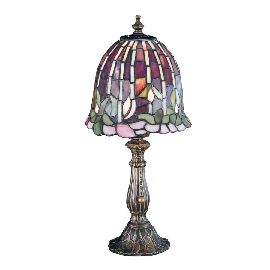 Meyda Tiffany Flowering Lotus and Wisteria 16-in Mahogany bronze  Electrical Outlet Table Lamp with Glass Shade