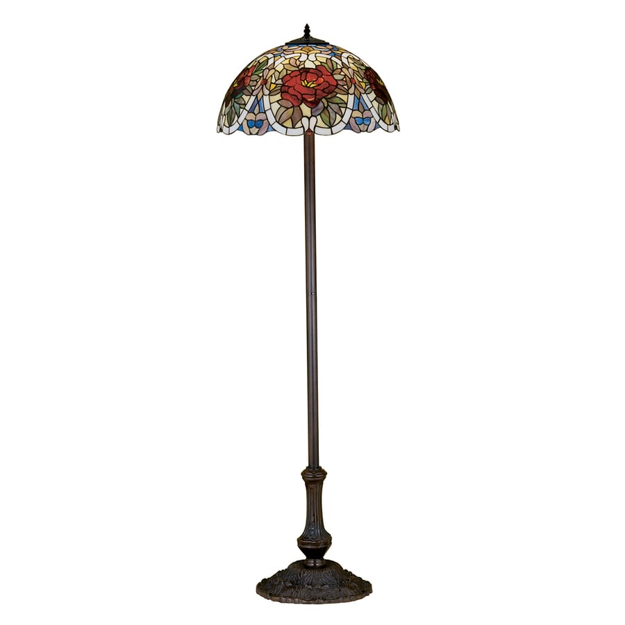 Meyda Tiffany Renaissance Rose 64-in Mahogany Bronze Tiffany-Style Indoor Floor Lamp with Glass Shade