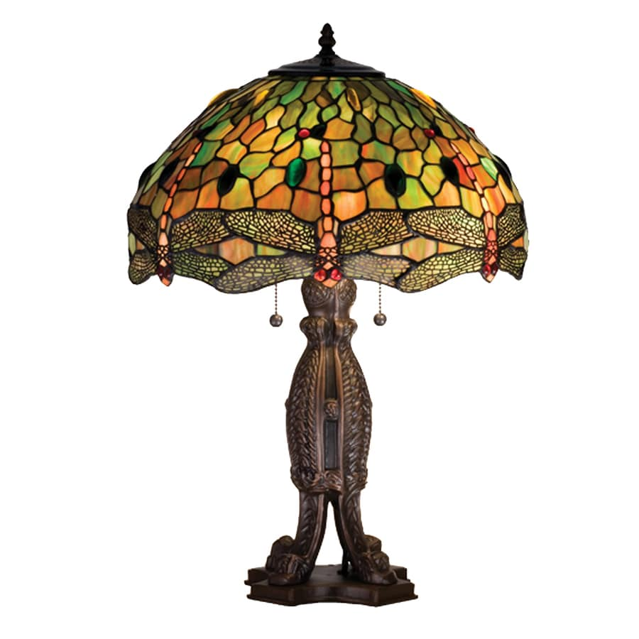 Meyda Tiffany 10-in Mahogany Bronze Indoor Table Lamp with Tiffany-Style Shade