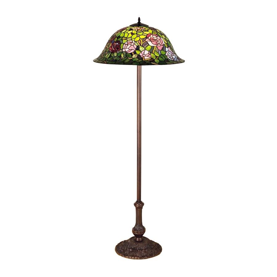Meyda Tiffany 64-in Mahogany Bronze Tiffany-Style Floor Lamp with Glass Shade