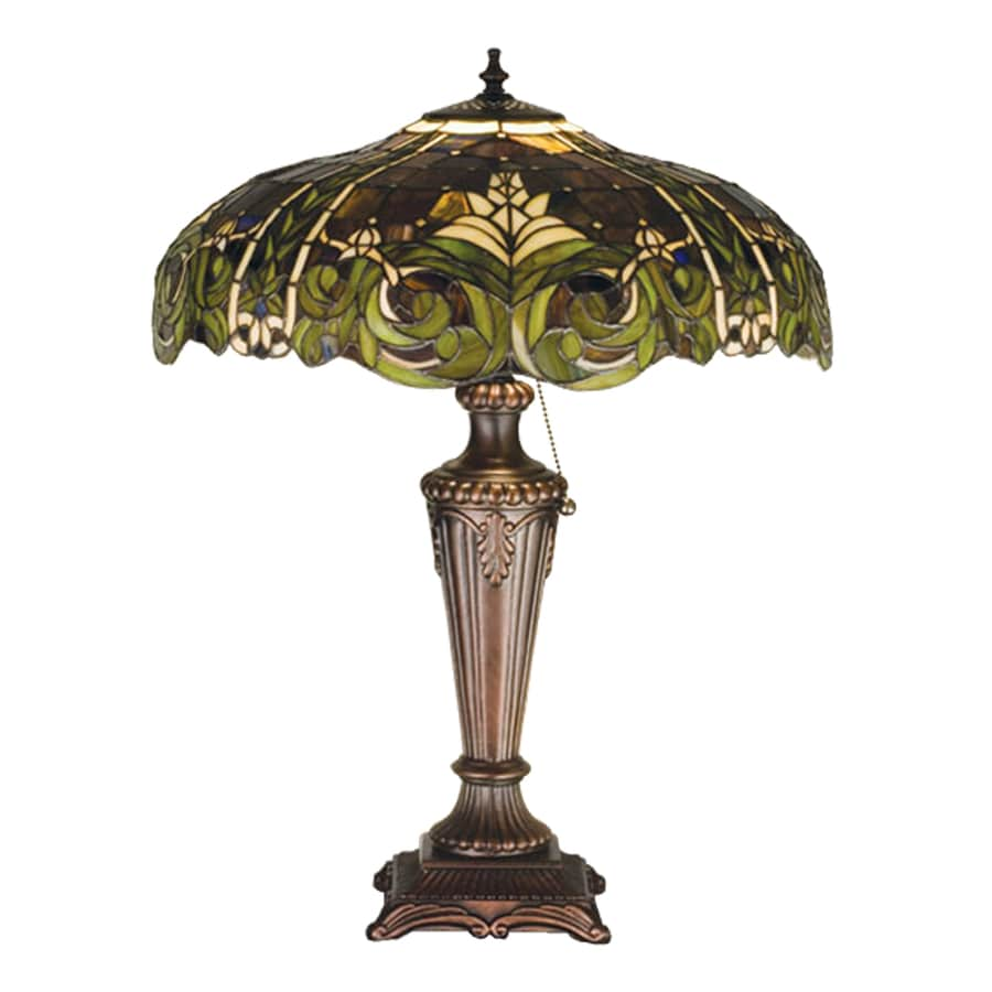 Meyda Tiffany 24-in Mahogany Bronze Tiffany-Style Indoor Table Lamp with Tiffany-Style Shade