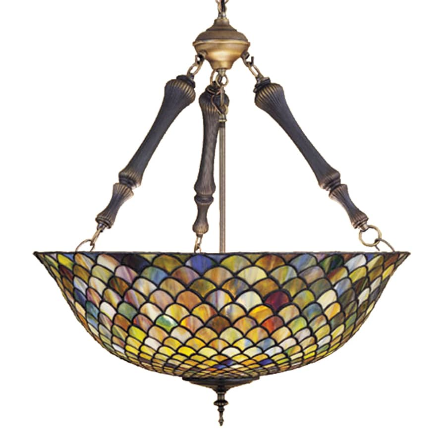 Meyda Tiffany Fishscale 24-in Mahogany Bronze Tiffany-Style Hardwired Single Stained Glass Bowl Pendant