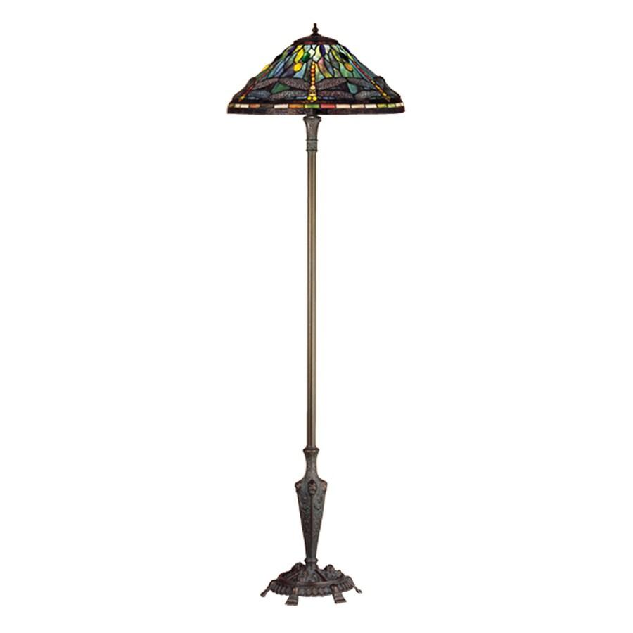 Meyda Tiffany Dragonfly 64-in Mahogany Bronze Tiffany-Style Indoor Floor Lamp with Glass Shade