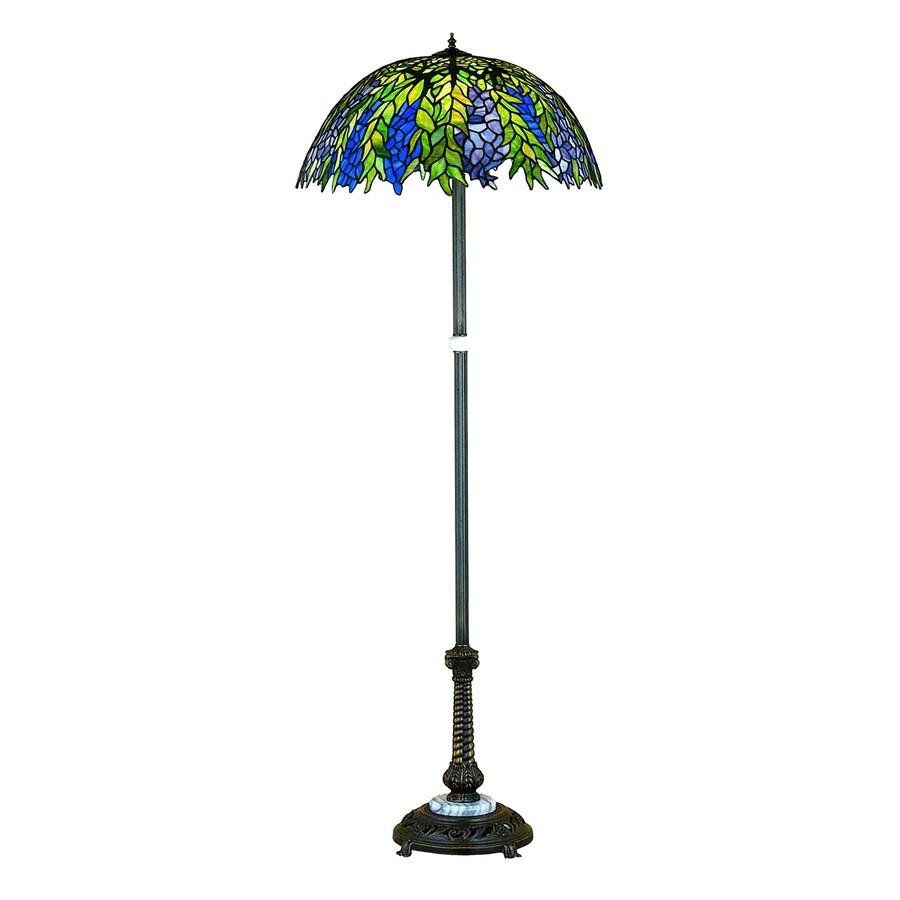 Meyda Tiffany Honey Locust 60-in Mahogany Bronze Tiffany-Style Indoor Floor Lamp with Glass Shade