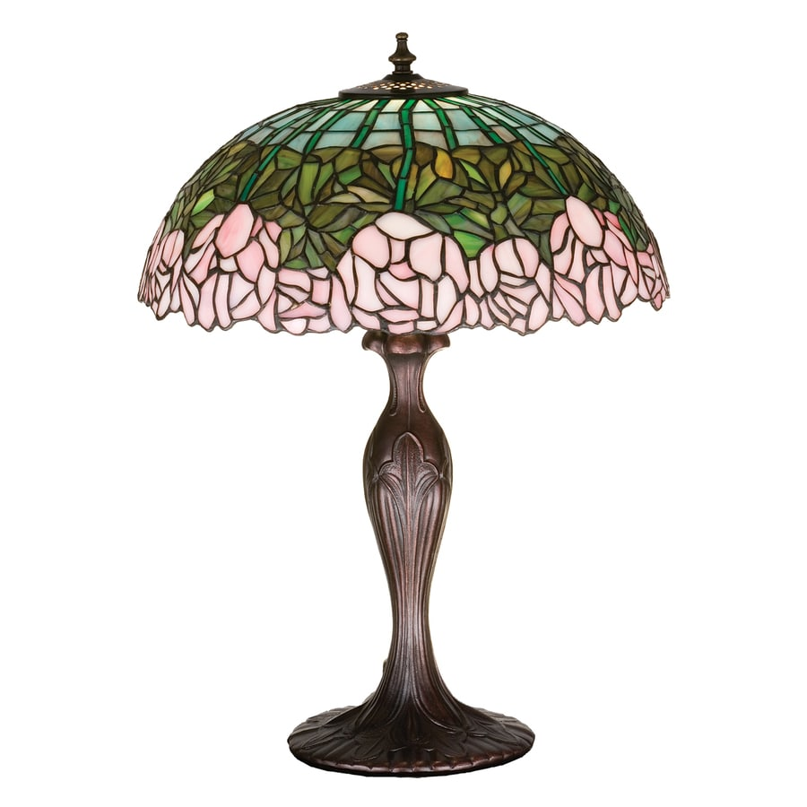 Meyda Tiffany Cabbage Rose 22-in Mahogany bronze  Electrical Outlet Table Lamp with Glass Shade