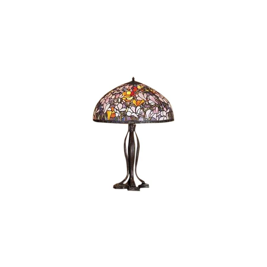 Meyda Tiffany 30-in Mahogany Bronze Tiffany-Style Table Lamp with Glass Shade