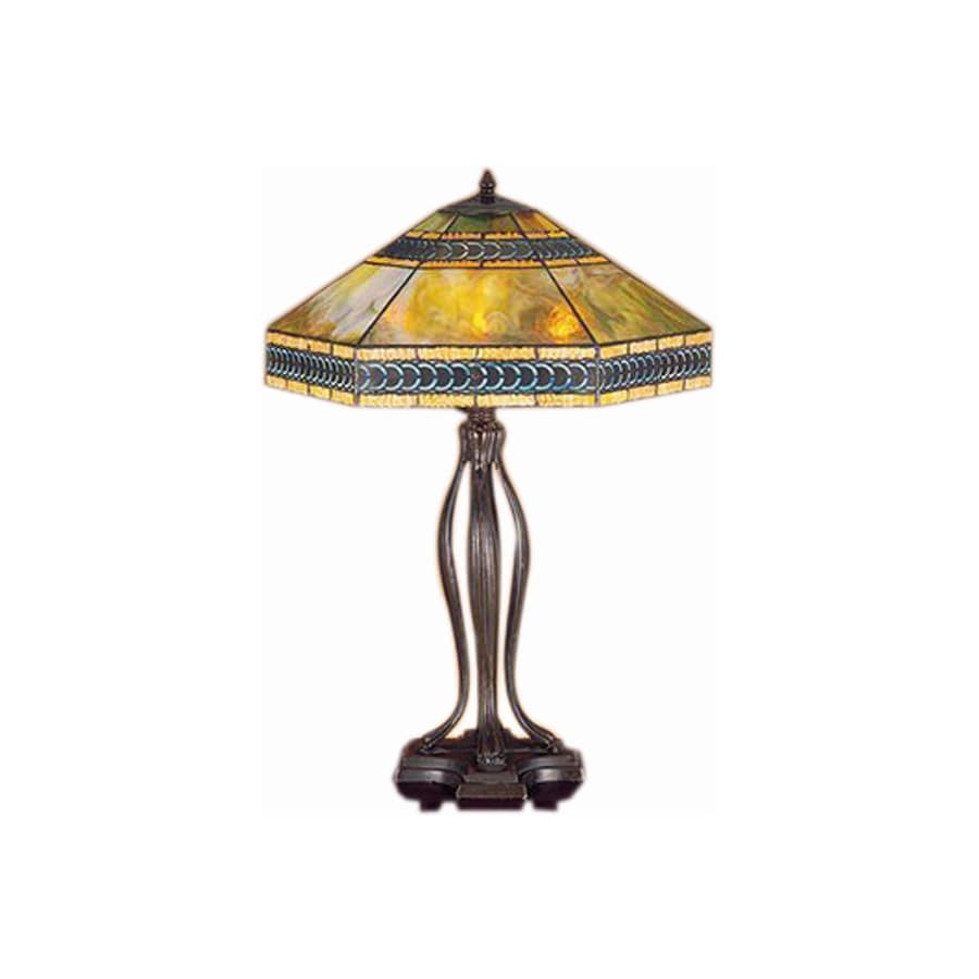 Meyda Tiffany 31-in Mahogany Bronze Tiffany-Style Table Lamp with Glass Shade