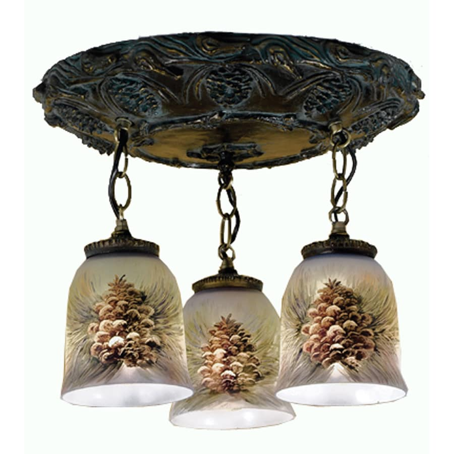 Meyda Tiffany 17-in W Golden Pine Flush Mount Light
