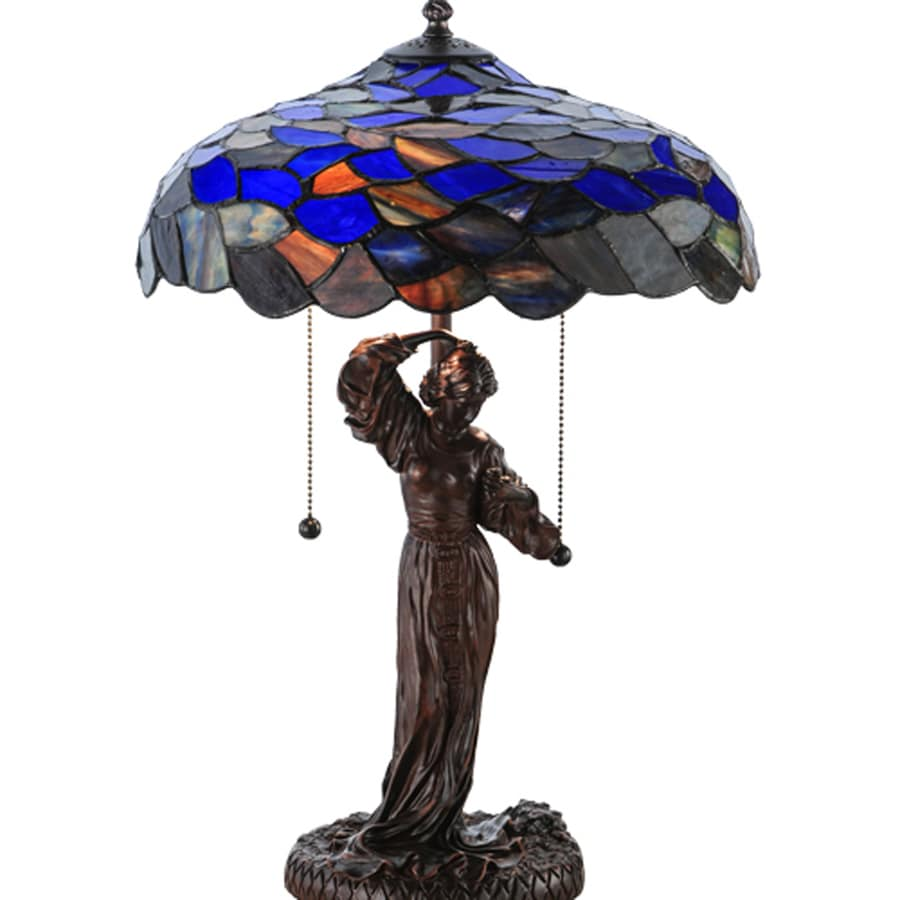 Meyda Tiffany 20.5-in Tiffany-Style Indoor Table Lamp with Glass Shade
