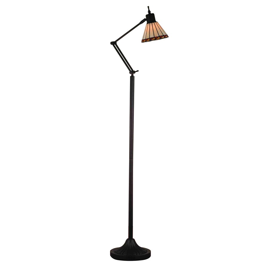 Meyda Tiffany Mission 60-in Hand Rubbed Copper Indoor Floor Lamp with Glass Shade