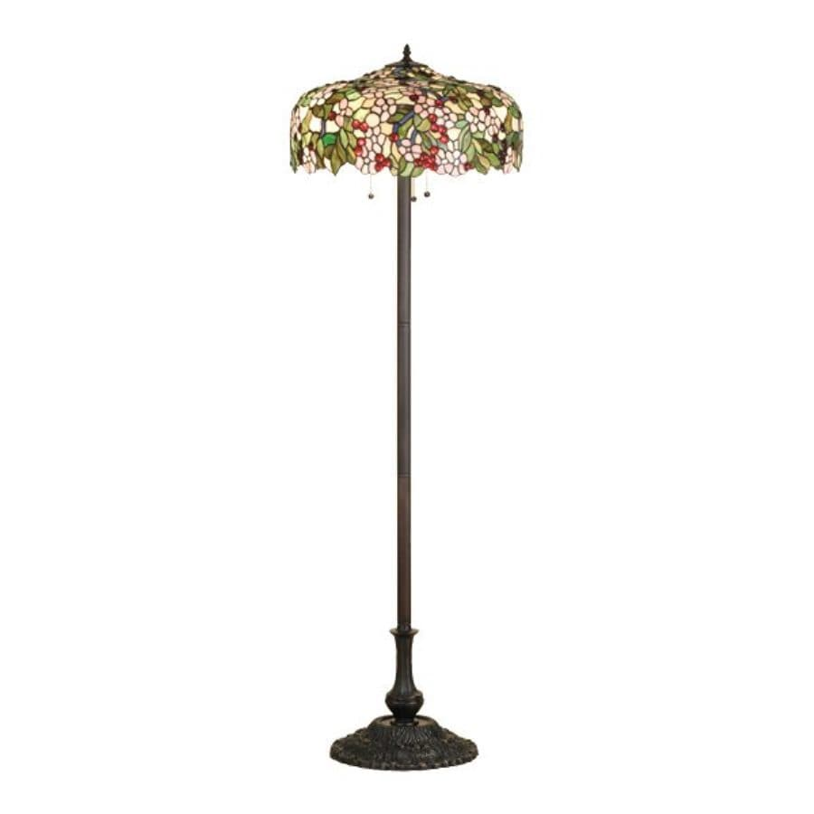 Meyda Tiffany Cherry 64-in Mahogany Bronze Tiffany-Style Indoor Floor Lamp with Glass Shade