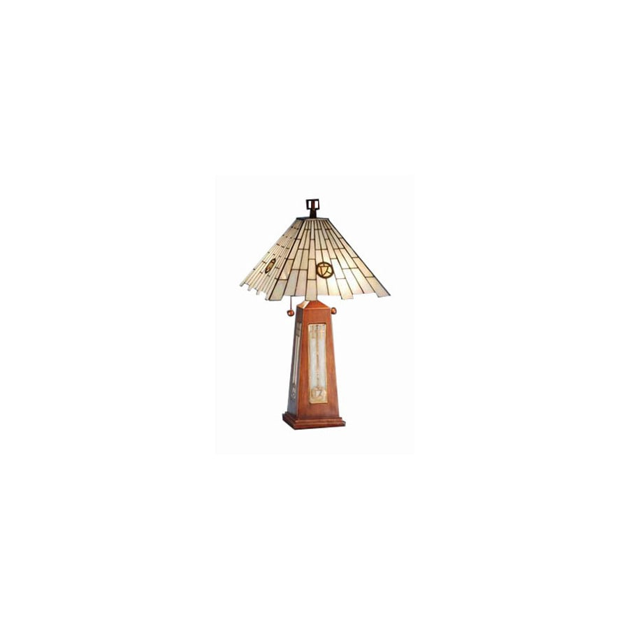 Shop Meyda Tiffany 25 1 2 In Cherry Wood Table Lamp With Glass Shade
