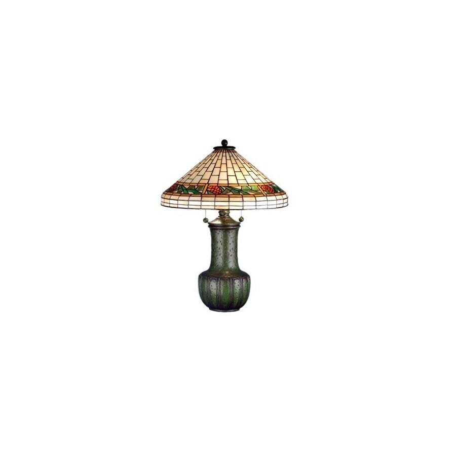 Meyda Tiffany 25-in Grueby Green Table Lamp with Glass Shade
