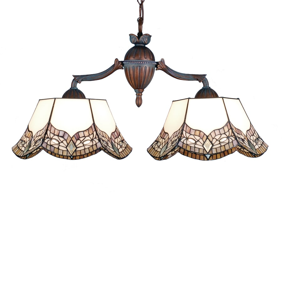 Meyda Tiffany Mariposa 14-in W 2-Light Verdi Washed Mahogany Bronze Kitchen Island Light with Tiffany-Style Shade