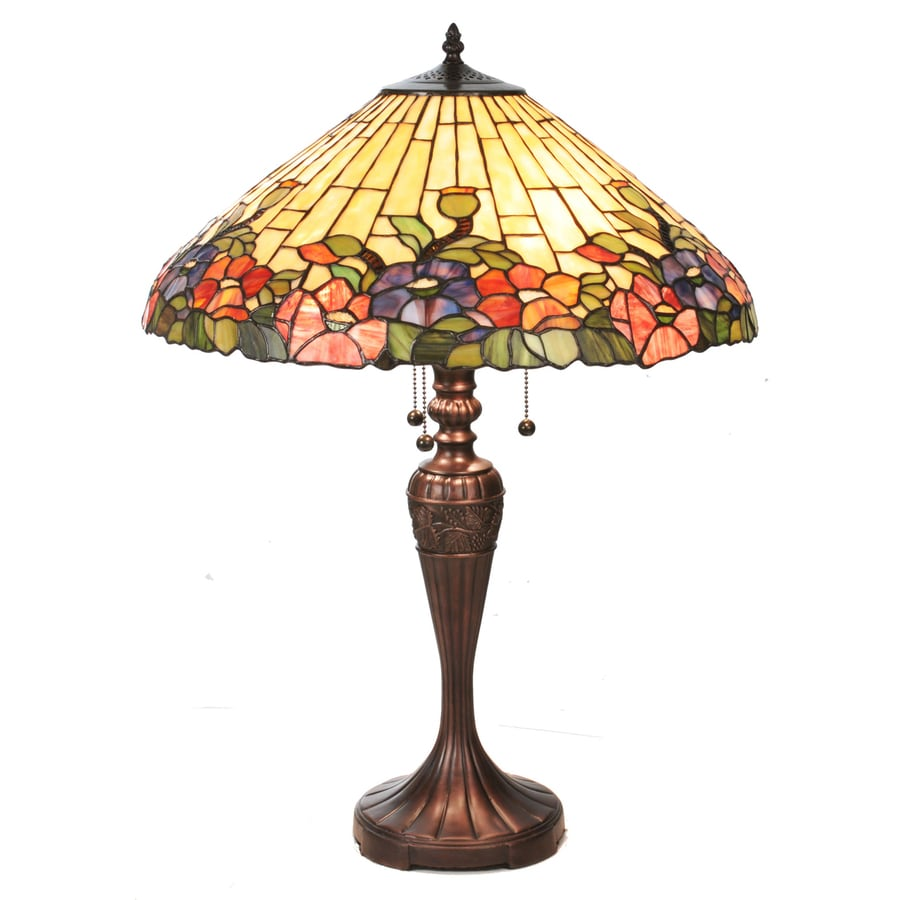 Meyda Tiffany 28-in Mahogany Bronze Indoor Table Lamp with Tiffany-Style Shade