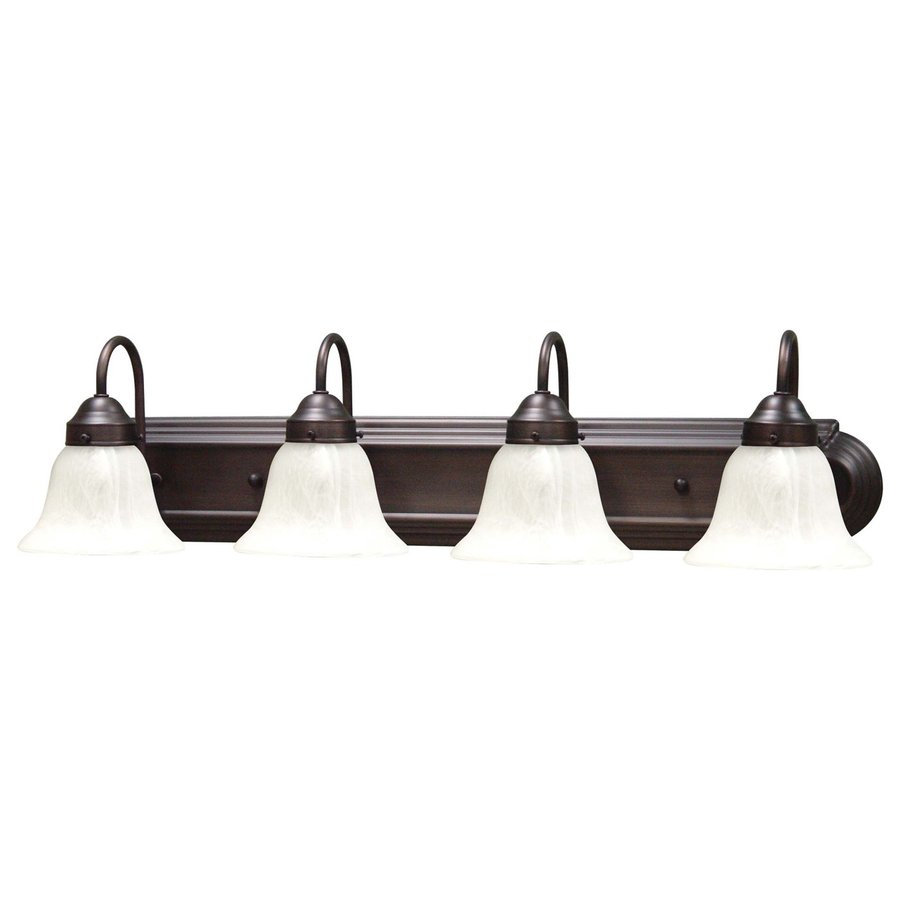 Vanity Light Bar Height : Shop Volume International Minister 4-Light 8-in Antique Bronze Bell Vanity Light Bar at Lowes.com