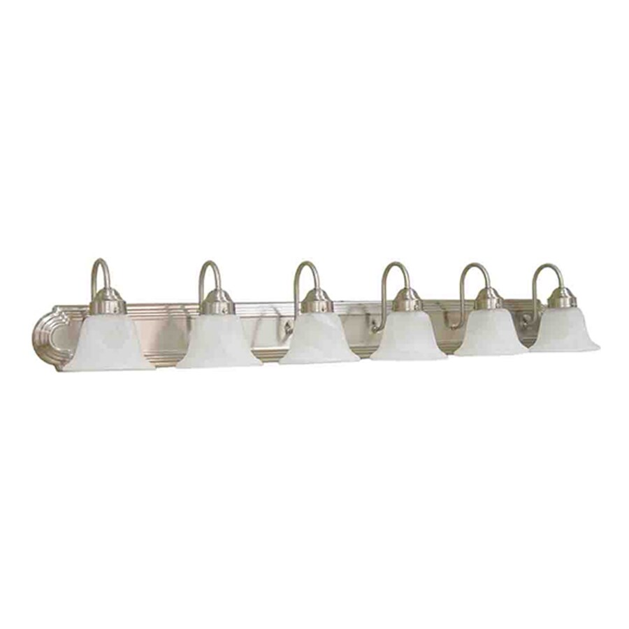 Vanity Light Bar Brushed Nickel : Shop Volume International Minister 6-Light 8-in Brushed Nickel Bell Vanity Light Bar at Lowes.com
