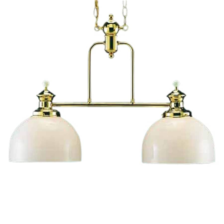 Volume International Aberdeen W 2-Light Polished Brass Kitchen Island Light with Shade