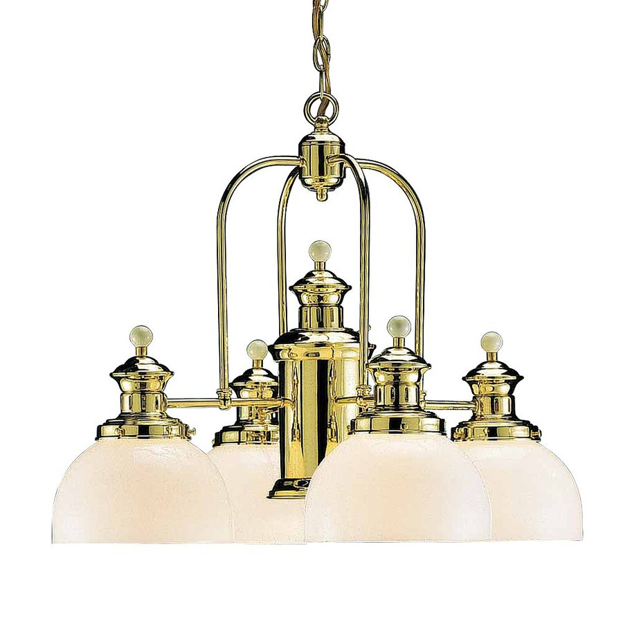 Volume International Aberdeen 25.25-in 5-Light Polished Brass Vintage Shaded Chandelier