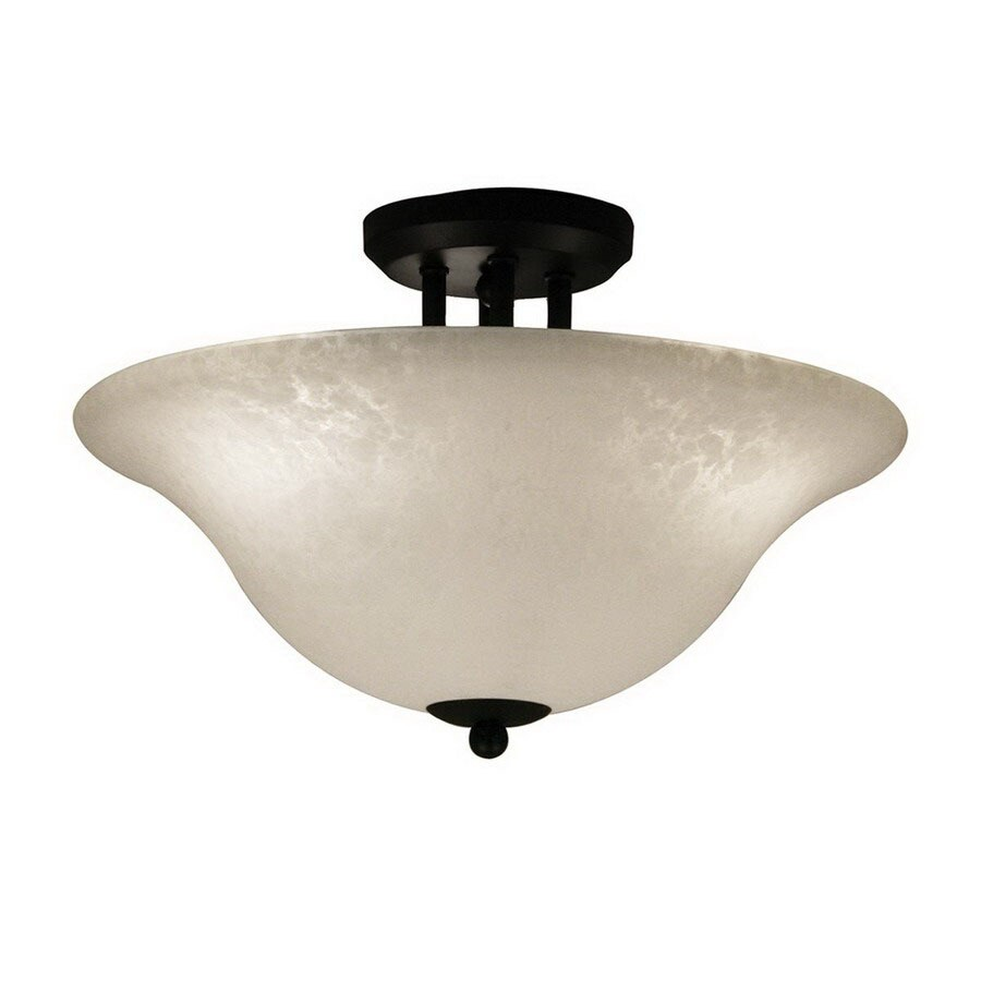 Z-Lite 16-in W Matte Black Art Glass Semi-Flush Mount Light