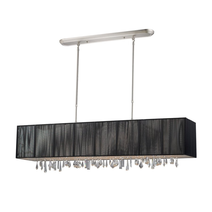 Z-Lite Casia 48-in W 5-Light Brushed Nickel Kitchen Island Light with Black Fabric Shade
