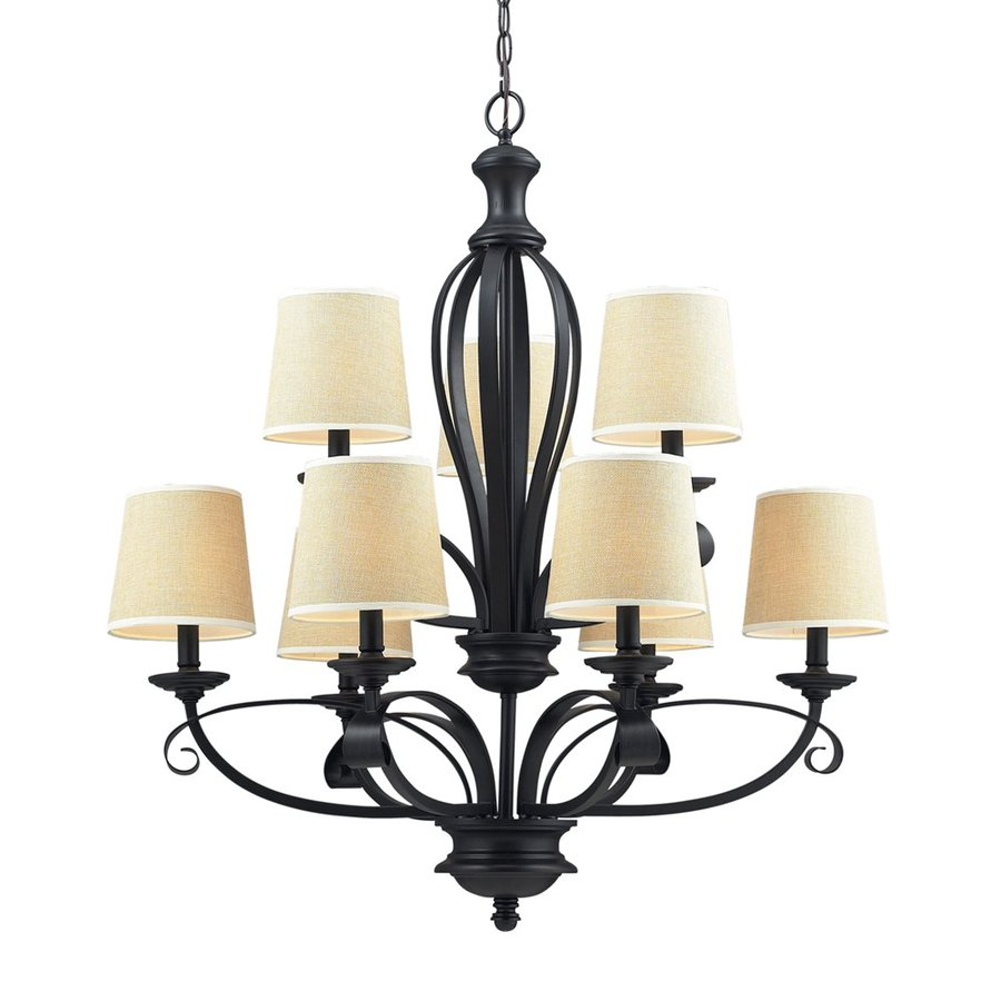 Z-Lite Charleston 31.75-in 9-Light Matte Black Mediterranean Tiered Chandelier