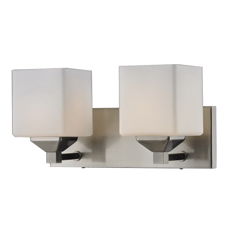 Z-Lite Quube 2-Light Brushed Nickel Square Vanity Light