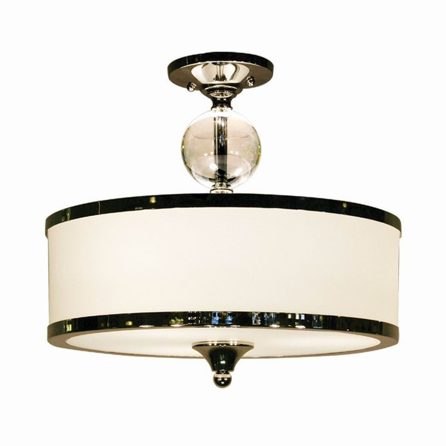 Z-Lite Cosmopolitan 15.5-in W Brushed Nickel Frosted Glass Semi-Flush Mount Light