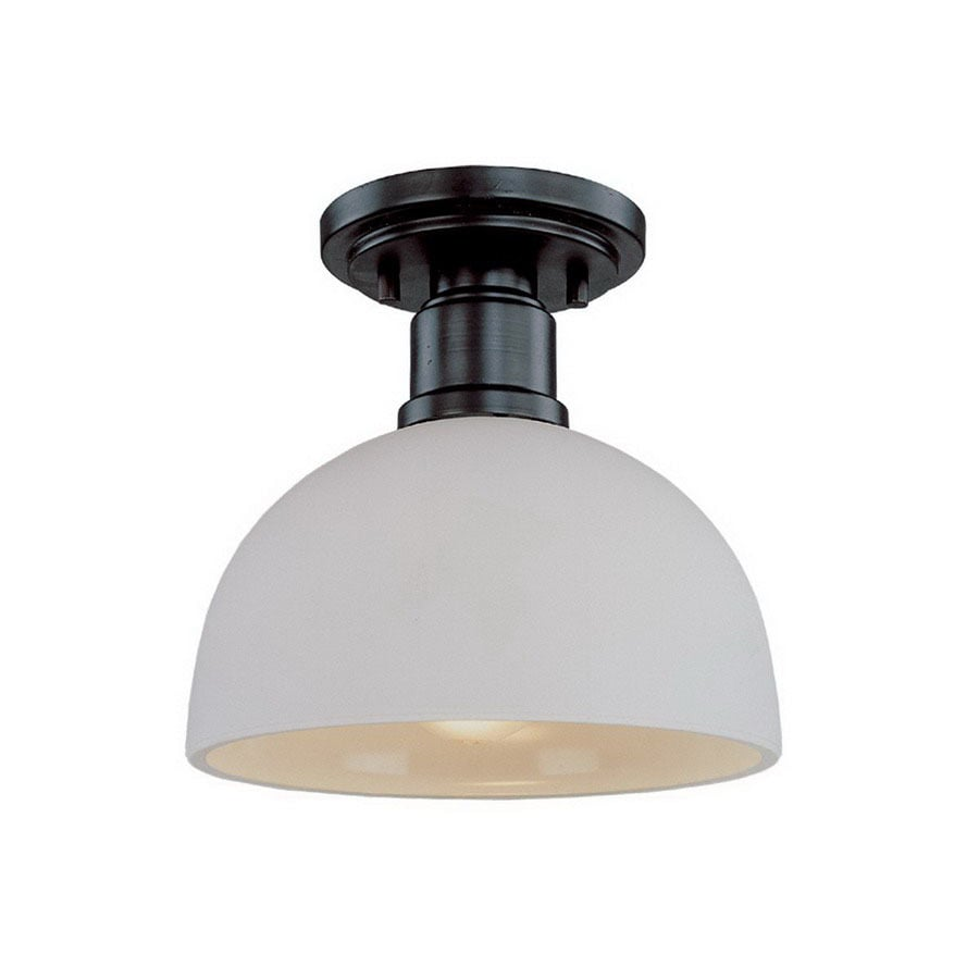 Z-Lite 8-in W Bronze Opalescent Glass Semi-Flush Mount Light