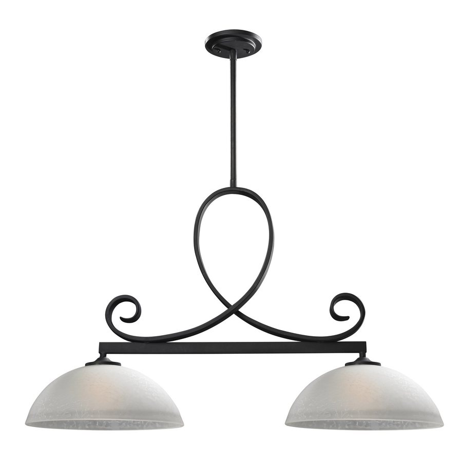 Z-Lite Arshe 13.5-in W 2-Light Cafe Bronze Kitchen Island Light with White Shades