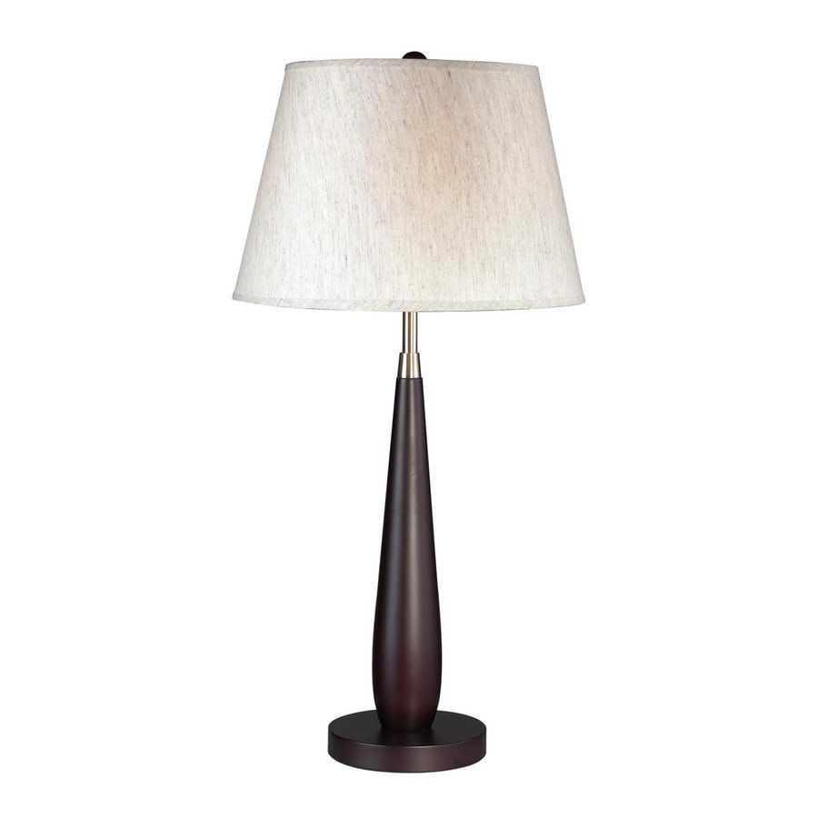 Z-Lite 27.5-in Mahogany 3-way Table Lamp with Fabric Shade