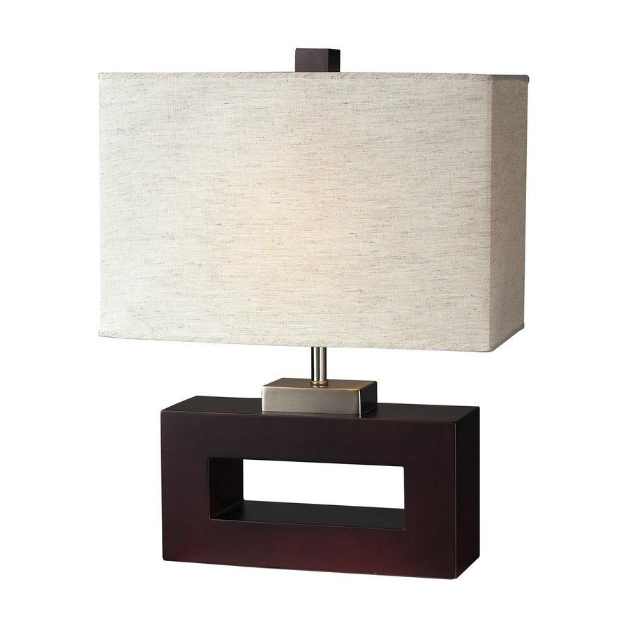 Z-Lite 20-in Mahogany Indoor Table Lamp with Fabric Shade