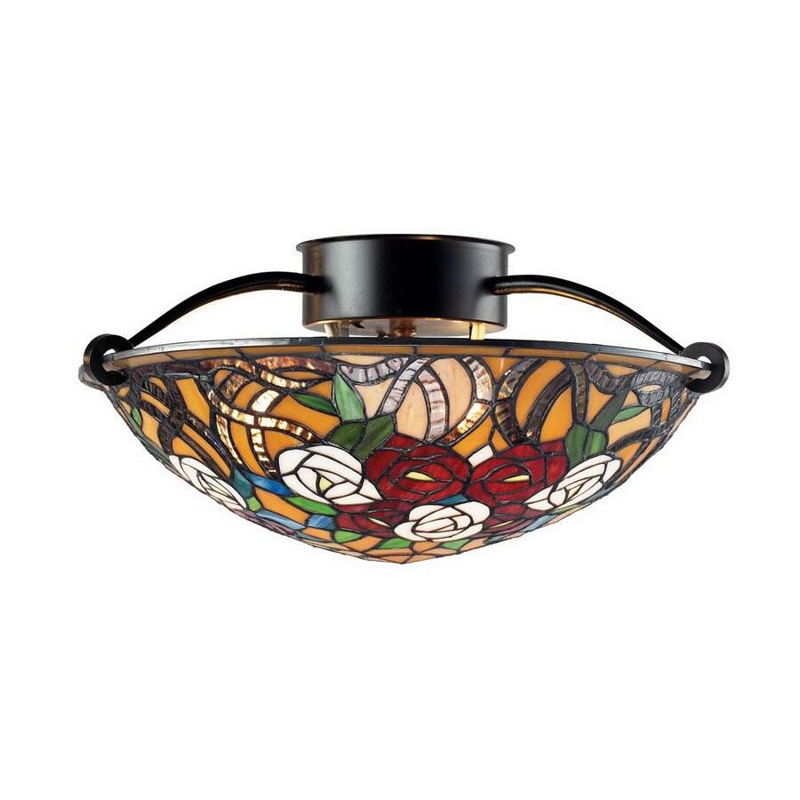 Z-Lite 16-in W Chestnut Bronze Art Glass Semi-Flush Mount Ceiling Light